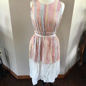 Maxi Striped Pastel Dress Vintage Farm